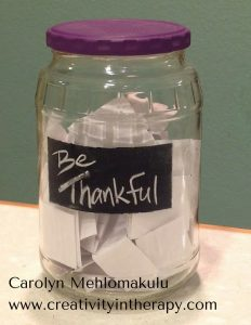 Gratitude Jar | Creativity in Therapy | Carolyn Mehlomakulu