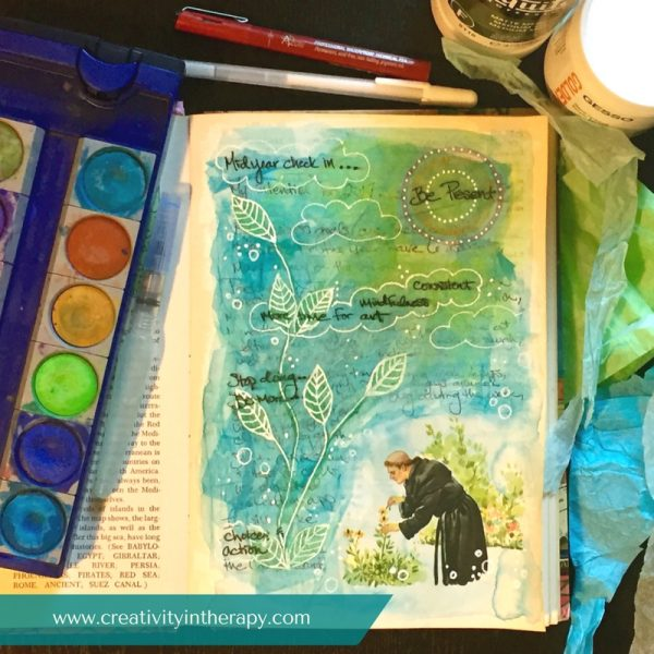 Midyear check-in art journal | Carolyn Mehlomakulu | Creativity in Therapy