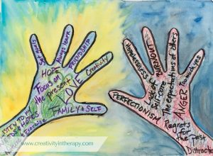 Hands Hold On To and Let Go Art Therapy | Creativity in Therapy