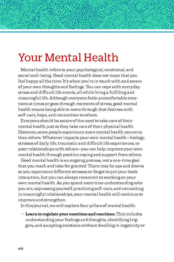 Book page explaining mental health