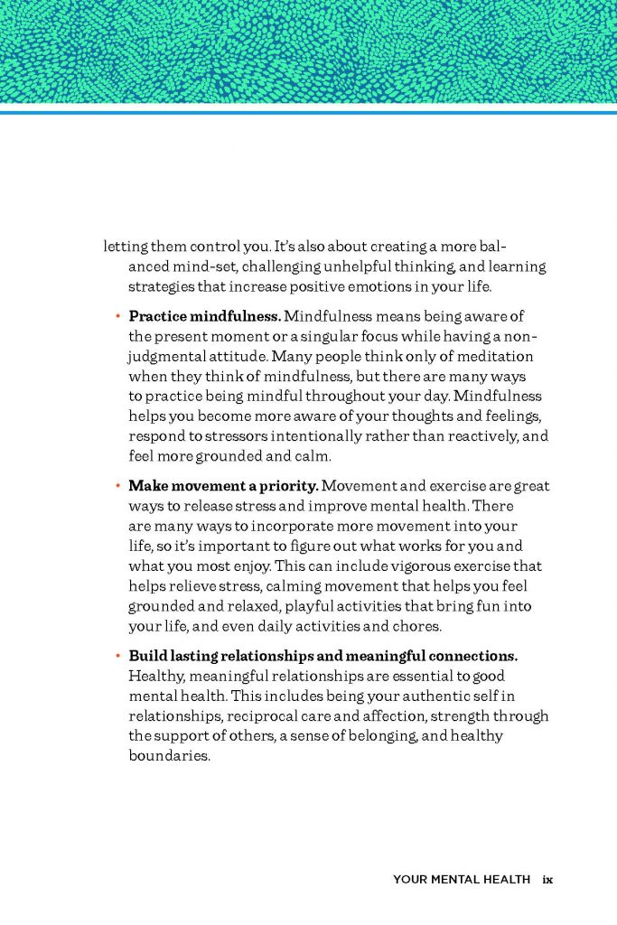 Book page 2 explaining good mental health