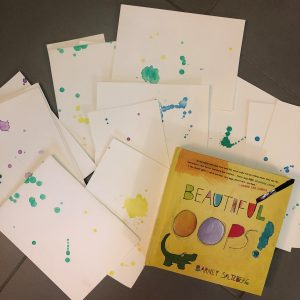 Picture of the book Beautiful Oops and splattered paper